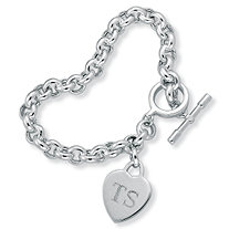 Sterling Silver Rolo-Link Personalized I.D. Heart Charm Toggle Bracelet 8""