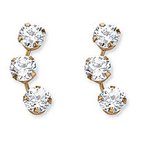 1.50 TCW Round Cubic Zirconia 14k Yellow Gold Stud Earrings