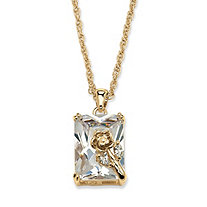 19.55 TCW Emerald-Cut Cubic Zirconia Rose Pendant Necklace in Yellow Gold Tone