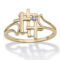Triple Cross and Diamond Accent Ring in 10k Gold
