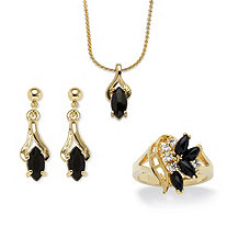 Marquise-Shaped Genuine Onyx 14k Gold-Plated Ring, Earrings, Pendant and Chain Set 18""