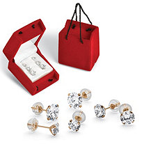 3 Pair 5.15 TCW Round Cubic Zirconia Stud Earrings Set in 10k Gold