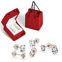 3 Pair 5.15 TCW Round Cubic Zirconia Stud Earrings Set in 10k Gold