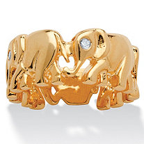 Round Cubic Zirconia 14k Yellow Gold-Plated Elephant Caravan Ring