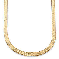 Herringbone Necklace in Yellow Gold Tone 18""