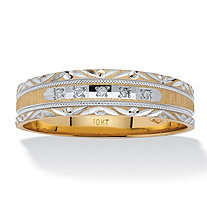 Men's Diamond Accent 10k Yellow Gold Etched Patterned Wedding Band Ring
