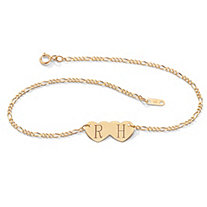 10k Yellow Gold Double-Heart I.D. Figaro-Link Anklet 10""