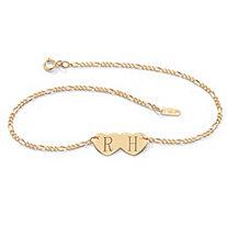 10k Gold Double-Heart I.D. Figaro-Link Anklet 10