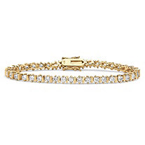 5.75 TCW Round Cubic Zirconia 18k Yellow Gold Over Sterling Silver Tennis Bracelet 8""