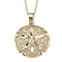 10k Yellow Gold Sand Dollar Filigree Charm Pendant 18""