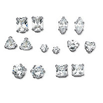 7 Pair 8 TCW Multi-Cut Cubic Zirconia Stud Earrings Set in Platinum over Sterling Silver