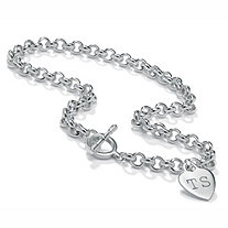 Sterling Silver Rolo-Link Personalized I.D. Necklace 17""