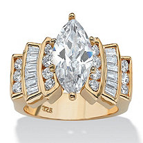 3.63 TCW Marquise-Cut and Round Cubic Zirconia 18k Yellow Gold Over Sterling Silver Ring