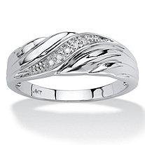 Men's Diamond Accent 10k White Gold Swirled Wedding Band Ring