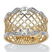 Diamond Accent 10k Yellow Gold Woven Lattice Band Ring