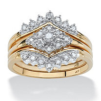 1/4 TCW Round Diamond 10k Yellow Gold 3-Piece Bridal Engagement Wedding Ring Set