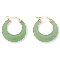Jade 14k Yellow Gold Hoop Earrings
