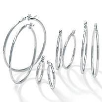 Sterling Silver 4-Pairs Hoop Earrings Set
