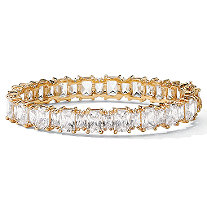 36.50 TCW Emerald-Cut Cubic Zirconia 14k Yellow Gold-Plated Tennis Bracelet 7 1/2""