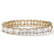 36.50 TCW Emerald-Cut Cubic Zirconia 14k Yellow Gold-Plated Tennis Bracelet 7 1/2