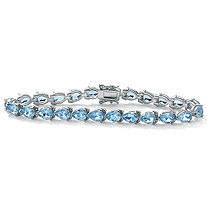 24.00 TCW Pear-Shaped Genuine Blue Topaz Sterling Silver Tennis Bracelet 7 1/2""