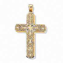 10k Yellow Gold Diamond-Cut Swirl Religious Cross Pendant