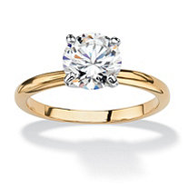 1.88 TCW Round Cubic Zirconia Solitaire Ring in 14k Gold-Plated