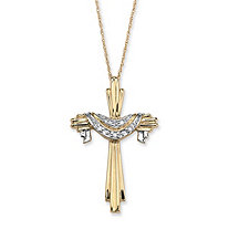 Diamond Accent 10k Yellow Gold Cross and Robe Pendant and Chain 18""