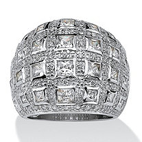 4.12 TCW Princess-Cut and Round Cubic Zirconia Sterling Silver Dome Ring