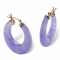 Lavender Jade 14k Yellow Gold Hoop Earrings