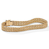 10k Yellow Gold BraI.D.ed Rope Bracelet 7 1/4""