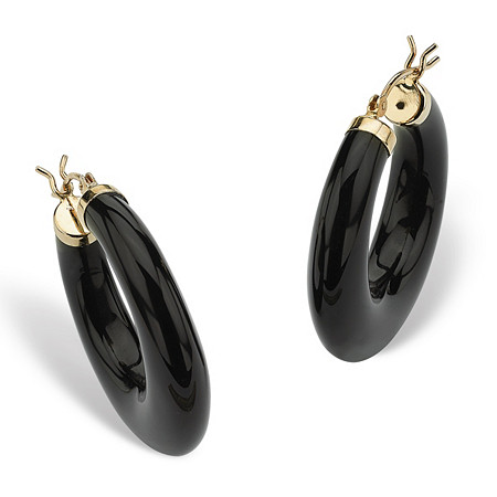 reconstituted black onyx 14k yellow gold hoop earrings