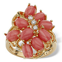 Oval-Shaped Coral 18k Gold over Sterling Silver Cluster Cocktail Ring