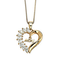 1.35 TCW Cubic Zirconia Mom Heart Pendant Necklace in 18k Gold over Sterling Silver