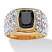 Men's Cushion-Cut Genuine Onyx 18k Yellow Gold Over Sterling Silver Two-Tone Ring