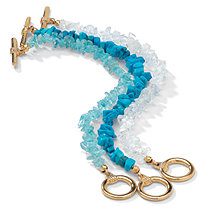3 Piece Set Genuine Turquoise, Topaz and Quartz Bracelets in Yellow Gold Tone