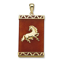 Red Jade 14k Yellow Gold Charm Horse Pendant