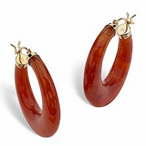 Red Jade 14k Yellow Gold Hoop Earrings