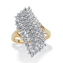 1/7 TCW Round Diamond Cluster Ring in 10k Gold