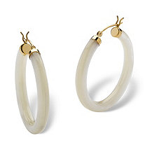 Genuine Mother-Of-Pearl 14k Yellow Gold Hoop Earrings