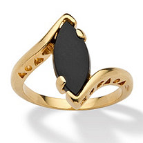 Marquise-Shaped Genuine Onyx 14k Yellow Gold-Plated Classic Ring