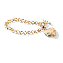 Heart Locket Bracelet in Yellow Gold Tone 8""