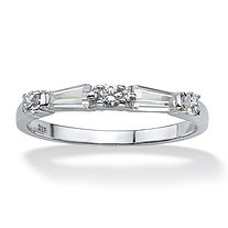 .98 TCW Round and Baguette Cubic Zirconia Sterling Silver Wedding Band Ring