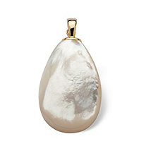 Pear-Shape Genuine Mother-Of-Pearl 14k Yellow Gold Drop Pendant/Pearl Enhancer