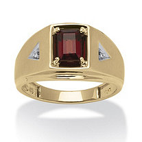 Men's 1.20 TCW Emerald-Cut Genuine Garnet Diamond Accent 10k Gold Classic Ring