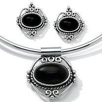 Oval-Shaped Genuine Onyx Silvertone Antique-Finish 2-Piece Pendant and Earrings Set