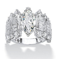 6.55 TCW Marquise-Cut Cubic Zirconia Engagement Anniversary Ring in Sterling Silver