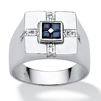 Men's 5/8 TCW Square Midnight Blue Genuine Sapphire Diamond Accent Sterling Silver Classic Ring