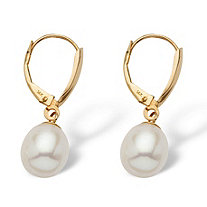 Oval-Shaped Cultured Freshwater Pearl 14k Yellow Gold Drop Earrings