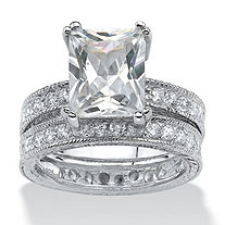 5.98 TCW Emerald-Cut Cubic Zirconia Sterling Silver Two-Piece Bridal Engagement Wedding Band Set